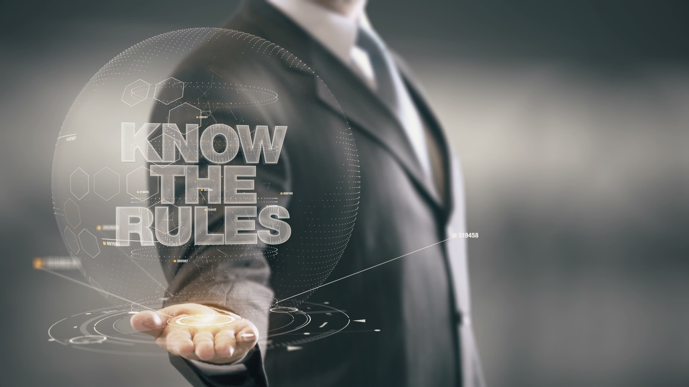 Know The Rules Businessman Holding in Hand New technologies